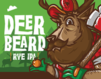 Deer Beard RYE IPA beer label + Deer Bear logo creation