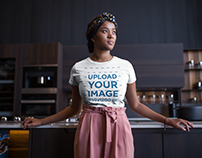 Gorgeous Black Woman Wearing a Round Neck Tee Mockup