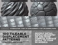 100 Tileable Displacement/Alpha Patterns