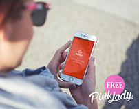 Free PSD Mockup iPhone Pink Lady