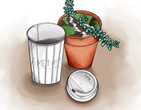 Coffee and Succulent Still Life