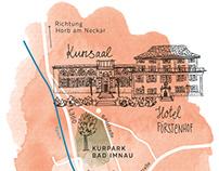 Handdrawn map for wedding invitation