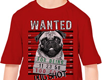 WANTED PUG DOGS GRAPHIC TEES