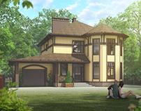 2-storey brick house visualization