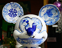 Blue and white porcelain Mickey Mouse