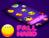FALL HARD App Game - Kawaii Character Design