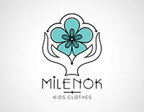 Kids clothes shop business logotype icon floral style