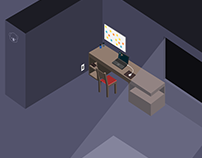 Home Office - Isometric Flat Design