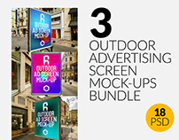 3 Outdoor Ad Screen Mock-Ups Bundle 3