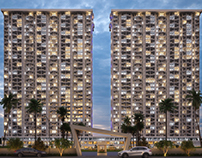 The luxury residential apartments evening render view.