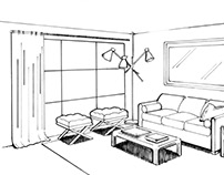 Pen and Ink Drawing: Living Room