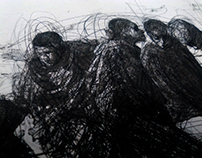 """""""Botant el rebuig"""" Litografía sobre piedra a 3 tintas."""