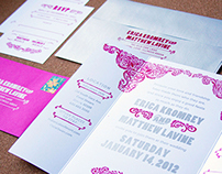 Mexican Fiesta Screen Printed Wedding Invite