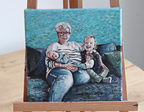 Painting of a family portrait
