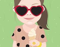 Pauline con helado