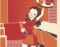 Waitress Retro Modern Style