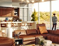 3D Open Kitchen Living Room