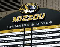 Mizzou Swimming & Diving Record Board