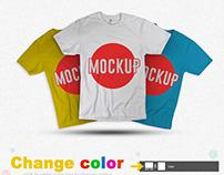 Free Multicolored T-Shirt Mockup