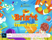 Bright Travel Items Scene Generator