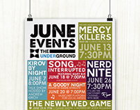 The Underground June 2013 Events Poster