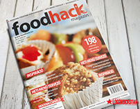 FoodHack magazine logo and cover design
