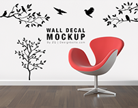 Free Wall Decal / Sticker Mockup Psd File