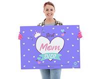Free Girl Showing Horizontal Poster Mockup