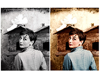 Colorisation of an Audrey Hepburn photograph
