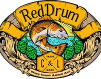 Beer Label Graphic Art: Red Drum Amber Ale