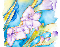 Lisianthus Watercolor With Gold Leaf