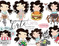 Brunette Hair Girls Printable Stickers