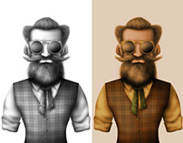 Hipster Grandad Character