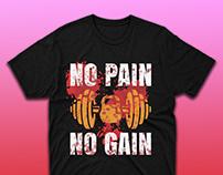 No Pain, No Gain quote Gym T-shirt Design