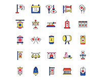 Japan National Foundation Day Icons Set