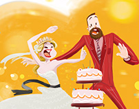 Personalized wedding inv. illustration