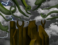 Surreal horror landscape of R'lyeh
