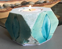 Leaf Concrete Candle Holder