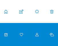 Blue and White Icons