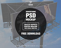 FREE POSTER MOCKUP - Advertising 900x300 PSD Multilevel