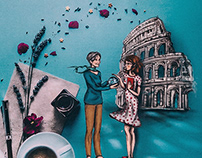 All the way to Italy | Book cover and illustrations