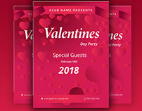 Valentine Day Party Flyer PSD Template Free