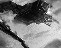 Grey scale paint sketches of battle scene.