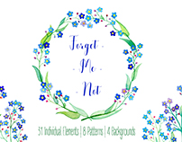 Forget-Me-Not Watercolor Flowers Clipart