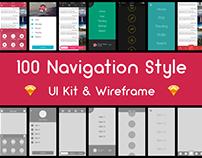 100 Navigation Style - Sketch UI Kit & Wireframe