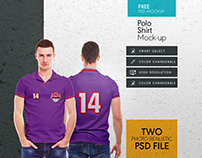 Men collar t shirt free mock up psd template