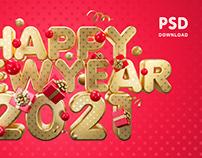 Happy New Year 2021/ 4000×2500 pixels / PSD