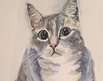 Vasilisa the cat, watercolor