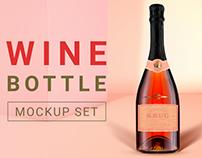 Wine bottle mockup set + Free wine scene creator