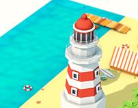 Isometric Low-poly Beach Scene